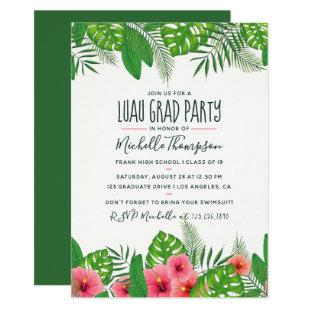 Watercolor tropical Luau Graduation Party Invitation