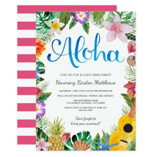 Watercolor Tropical Luau Graduation Party Invite