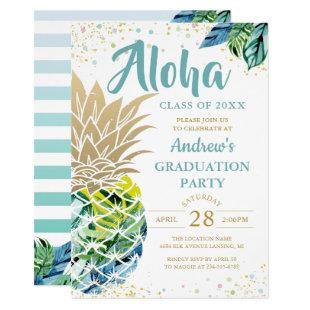 Watercolor Tropical Pineapple Beach Graduation Invitation
