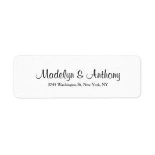 Wedding Elegant Minimalist White Classical Label