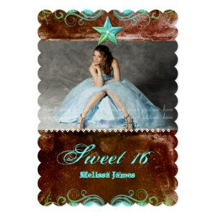 Western Sweet 16 Scalloped Invite Blue Brown Star
