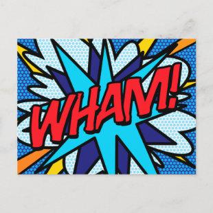 WHAM Fun Retro Comic Book Pop Art Announcement Postcard