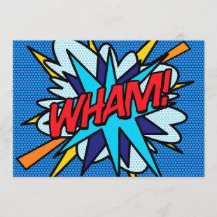 WHAM Fun Retro Comic Book Pop Art Invitation