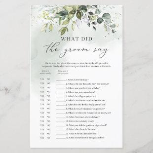 What did the groom say bridal shower game green