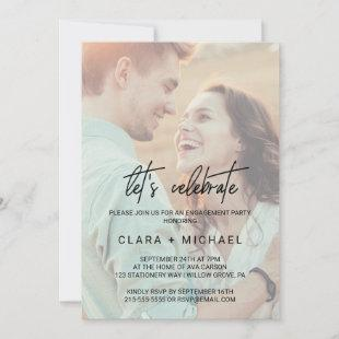 Whimsical Calligraphy Faded Photo Let's Celebrate Invitation