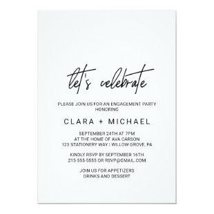 Whimsical Calligraphy Let's Celebrate Invitation