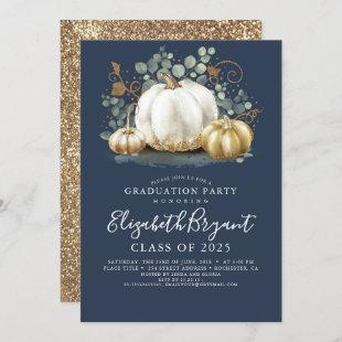 White and Gold Pumpkins Fall Harvest Graduation In