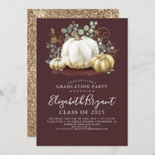 White and Gold Pumpkins Fall Harvest Graduation