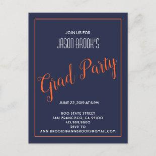 White And Orange On Black Graduation Party Announcement Postcard
