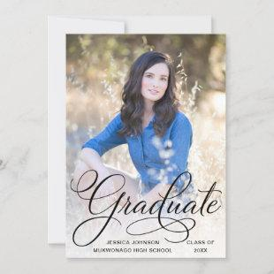 White Black Modern 2 PHOTO Graduation Party Invitation
