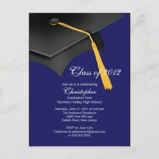 White Blue Grad Cap Graduation Party Invitation