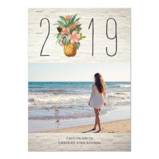 White Brick Floral Pineapple Graduation Photo Invitation