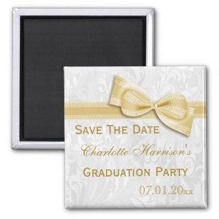 White Damask & Faux Bow Graduation Save The Date Magnet
