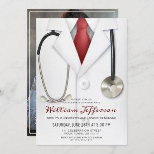 White Doctor Coat Modern Nursing School Graduation Invitation