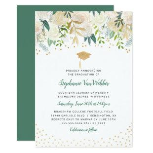 White Floral Greenery Graduation invitation