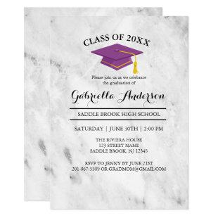 White Marble With Purple Grad Cap Graduation Invitation