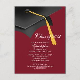 White Maroon Grad Cap Graduation Party Invitation
