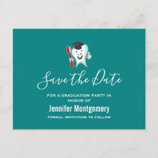 White Tooth wearing Graduation Cap Save the Date Invitation Postcard