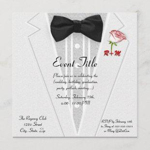 White Tuxedo with Bow Tie Monogram Invitation