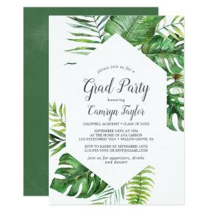 Wild Tropical Palm Graduation Party Invitation