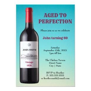 Wine Bottle Aged to Perfection | Invitation Card