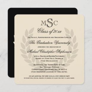 Wreath Monogram Square Classic College Graduation Invitation