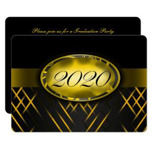 Yellow and Black Class of 2020 Party Invitations