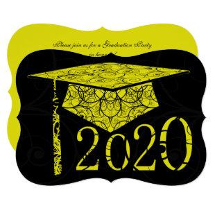 Yellow and Black Floral Cap 2020 Graduation Party Invitation