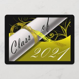 Yellow and Black Graduation Announcement