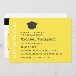 Yellow and Black Graduation Party VIP Pass Invitation