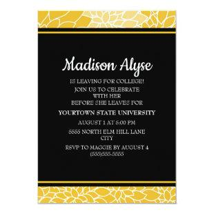 Yellow Black Floral Going to College Party Invite