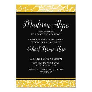Yellow Black Floral Trunk College Party Invitation