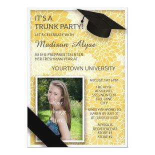 Yellow Black Floral Trunk College Party Photo Invitation