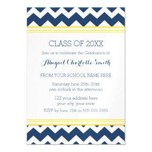 Yellow Blue Chevron Graduation Party Magnetic Card
