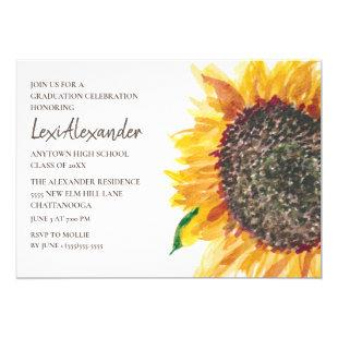 Yellow Brown Watercolor Sunflower Graduation Party Invitation