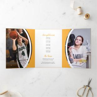Yellow Curved Frame Three Photo Graduation Tri-Fold Invitation