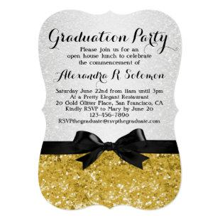 Yellow-Gold Glittery Graduation Party Invitation