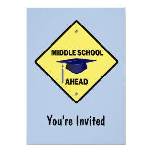 Yellow Highway Sign Graduation Middle School Invitation