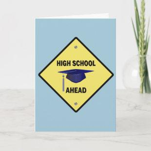 Yellow Highway Sign High School Ahead Invitation