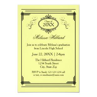 Yellow Lined Frame - 3x5 Graduation Announcement