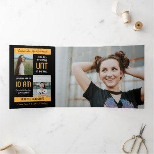 Yellow Modern Block 5-Photo Graduation Tri-Fold Invitation