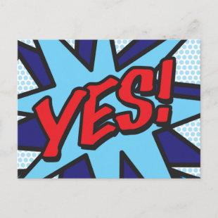 YES Your Message Speech Bubble Fun Retro Announcement Postcard