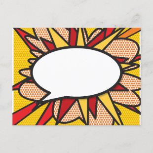 Your Message Speech Bubble Fun Retro Comic Book Announcement Postcard
