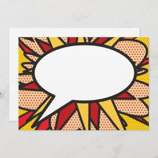 Your Message Speech Bubble Fun Retro Comic Book Invitation