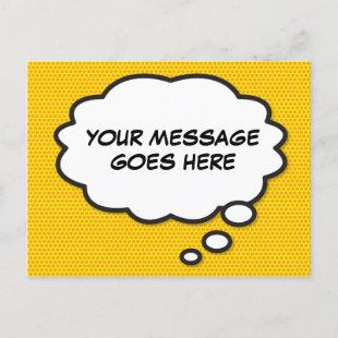 Your Message Think Bubble Fun Retro Comic Book Announcement Postcard
