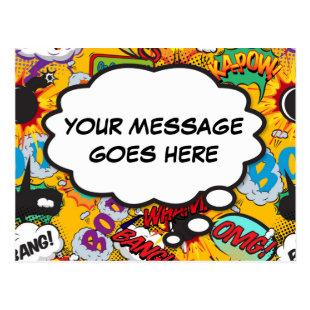 Your Message Thought Bubble Fun Retro Comic Book Postcard