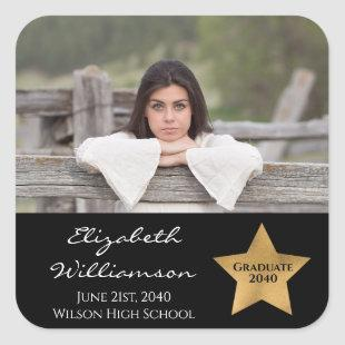 Your Photo Graduation Annoucement Seal Gold Star