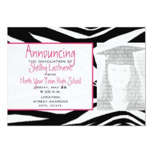 Zebra Print & Pink Graduation Photo Announcement
