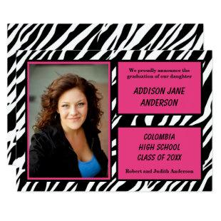 Zebra w/Pink Trim with Photo-3x5 Grad Announcement